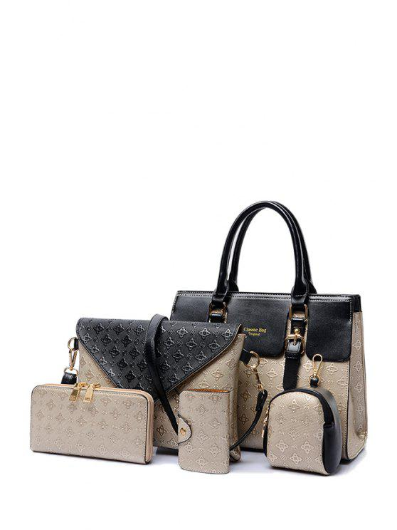 new Color Matching Buckle Embossing Tote Bag - GOLDEN