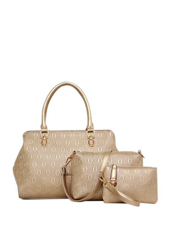 chic Letter Print Embossing Metal Tote Bag - GOLDEN