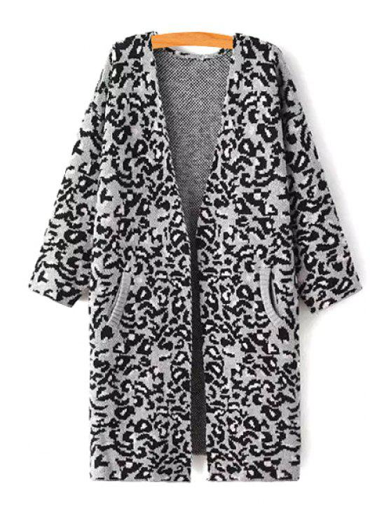 hot Leopard Print 3/4 Sleeves Collarless Coat - GRAY ONE SIZE(FIT SIZE XS TO M)