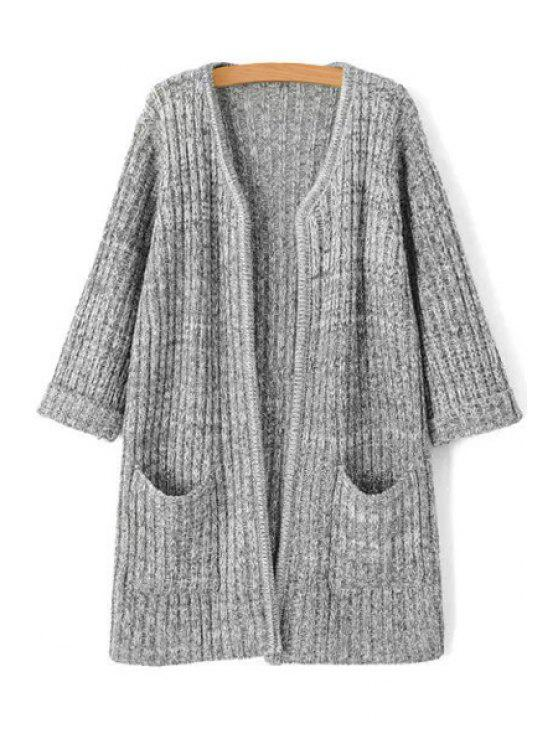 unique Open Front 3/4 Sleeve Gray Cardigan - LIGHT GRAY ONE SIZE(FIT SIZE XS TO M)