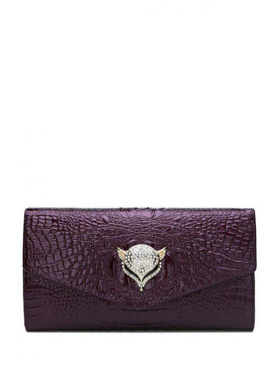 buy Rhinestones Crocodile Print Fox Clutch Bag - PURPLE