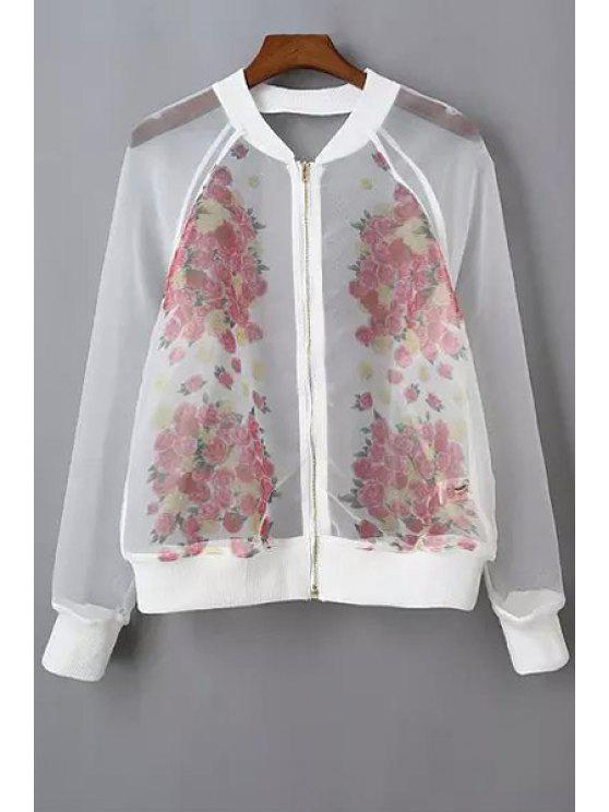 shop See-Through Organza Jacket - WHITE S