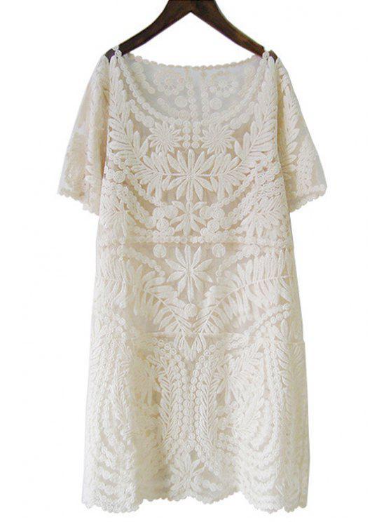 new Pure Color Short Sleeve Lace Dress - APRICOT L