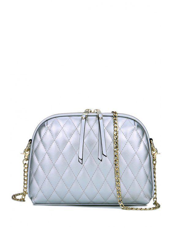shop Tassel Argyle Solid Color Crossbody Bag - SILVER