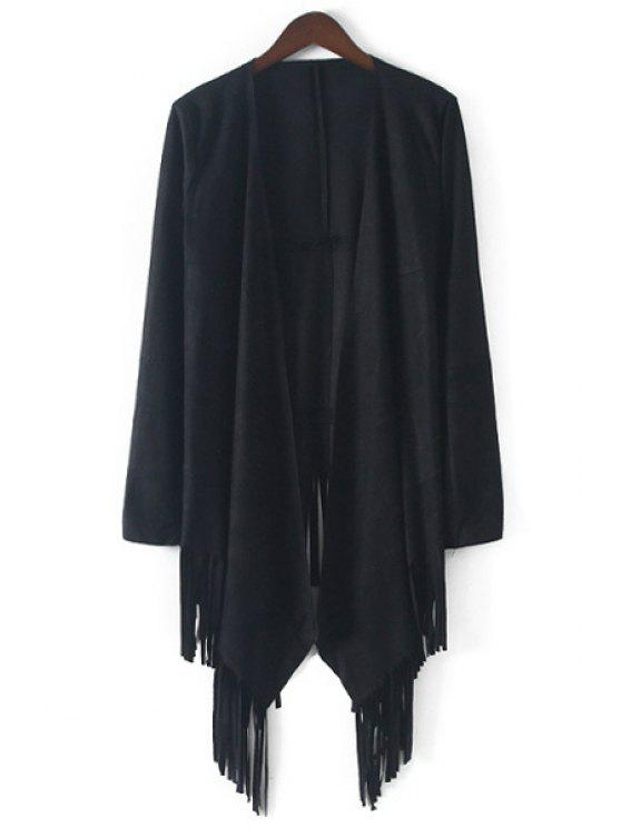 trendy Open Front Tassels Suede Coat - BLACK S