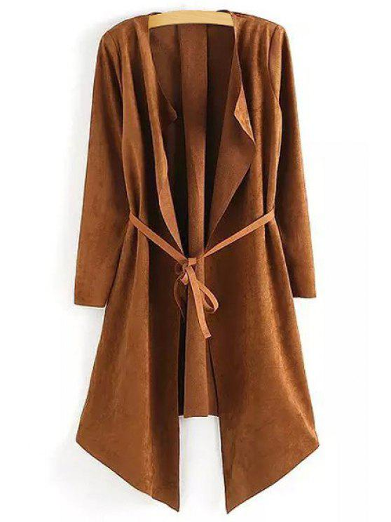 affordable Open Front Self-Tie Belt Suede Coat - COFFEE ONE SIZE(FIT SIZE XS TO M)