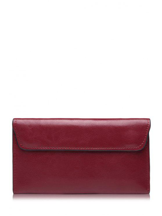 ladies Stitching Solid Color PU Leather Wallet - WINE RED
