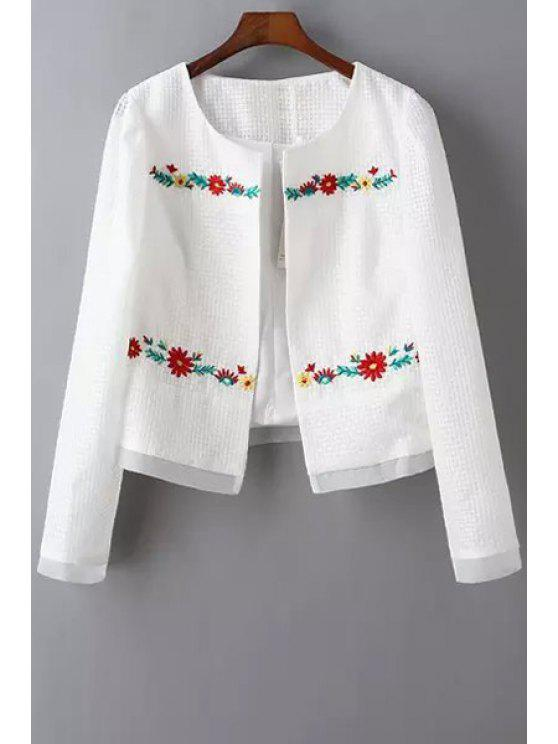 trendy Round Neck Embroidered Jacket - WHITE S