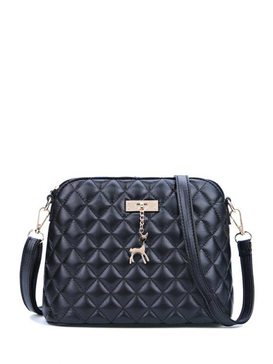 shops Fawn Pendant Argyle Zipper Crossbody Bag - BLACK
