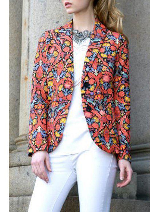 womens Lapel Vintage Floral Print Blazer - COLORMIX S