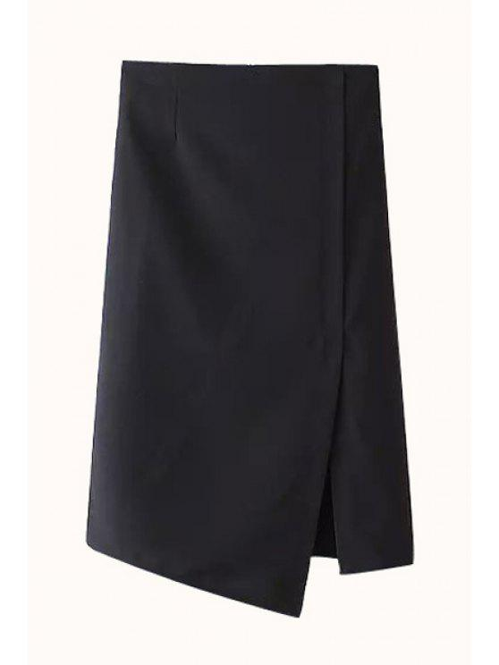 women's Solid Color Straight Side Slit Skirt - BLACK L