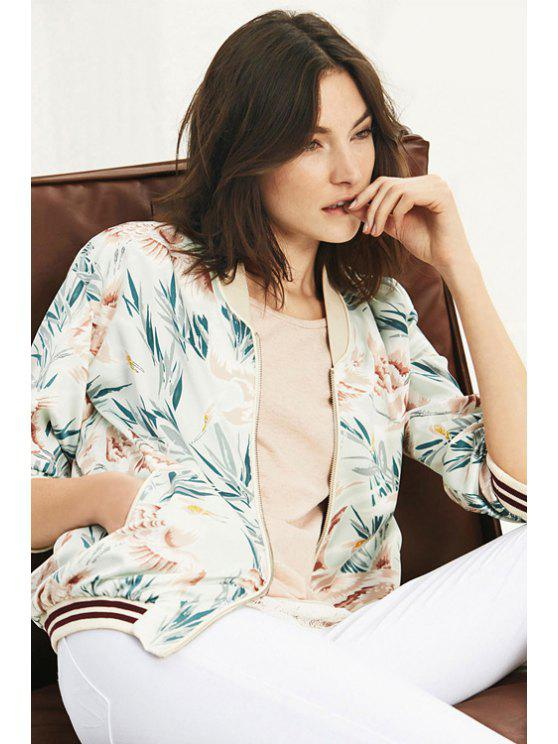 hot Bird Print Stand Neck Long Sleeve Jacket - GREEN XS