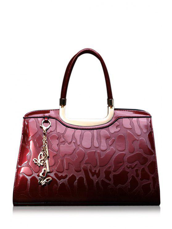 fashion Stone Pattern Metal Pendant Zipper Tote Bag - RED