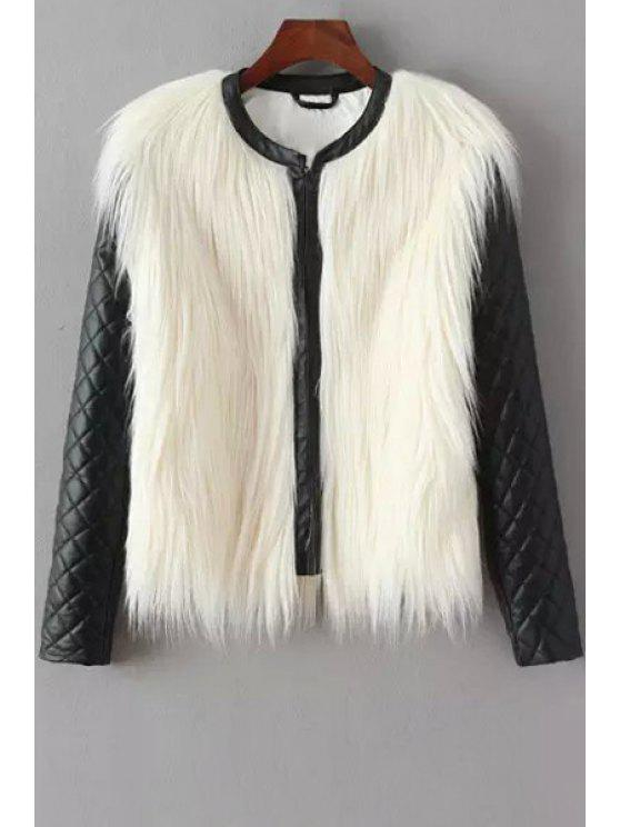 fancy PU Leather Spliced Faux Fur Jacket - WHITE AND BLACK S