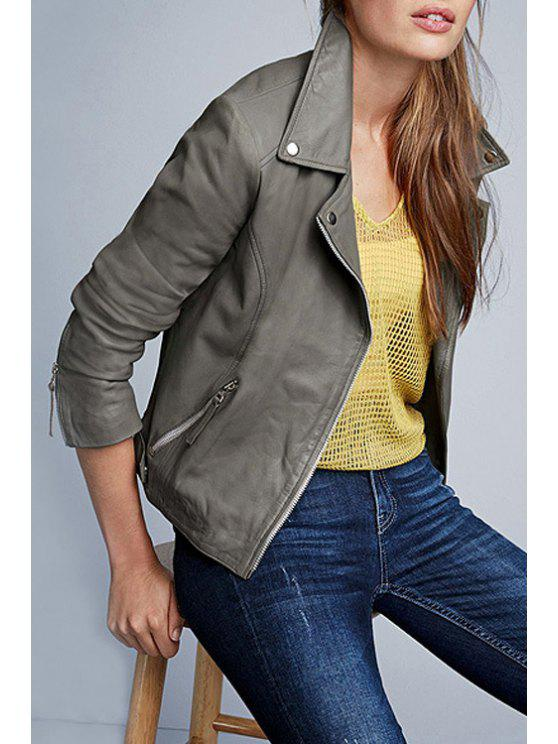 sale Gray PU Leather Lapel Long Sleeve Jacket - GRAY XS