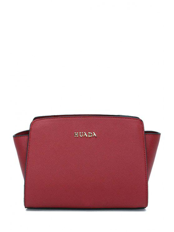 latest Letter Print Buckle Zipper Crossbody Bag - CLARET
