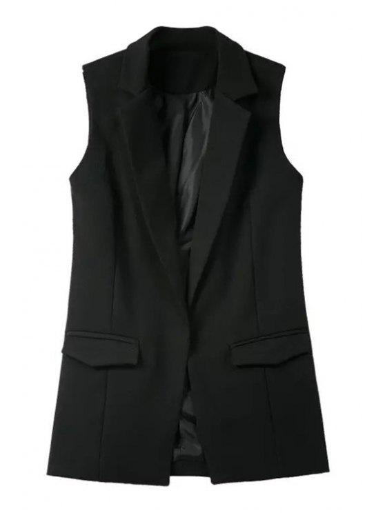 lady Pure Color Lapel Collar Pocket Waistcoat - BLACK M