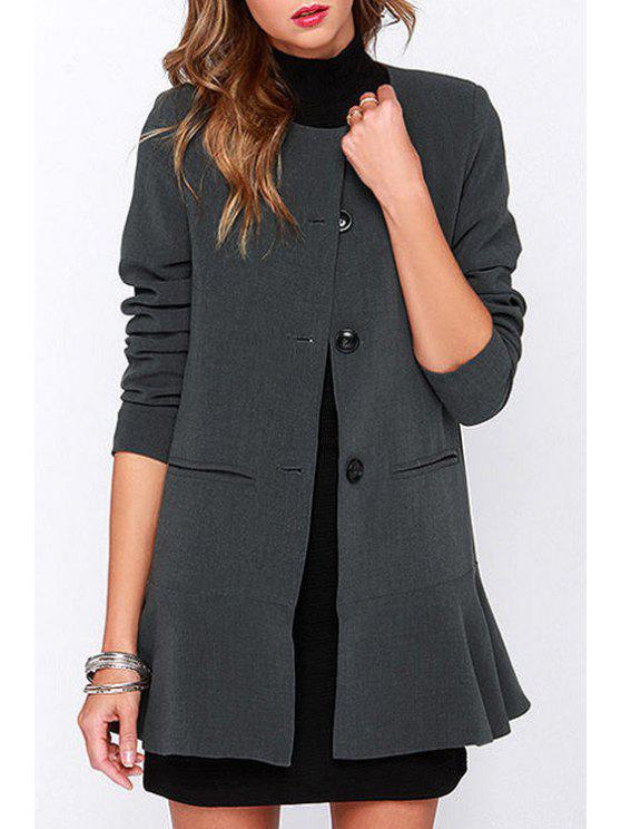 best Flouncing Round Neck Long Sleeve Coat - GRAY XS
