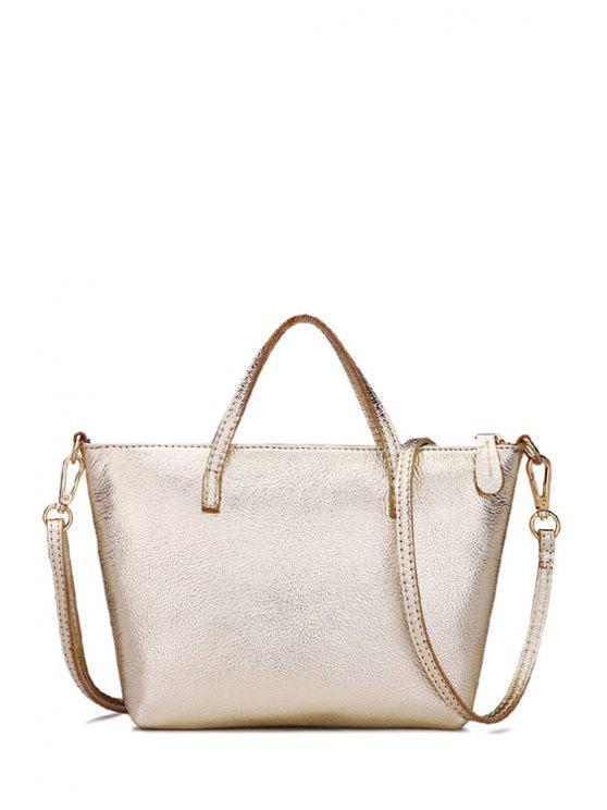 sale PU Leather Zipper Solid Color Tote Bag - GOLDEN
