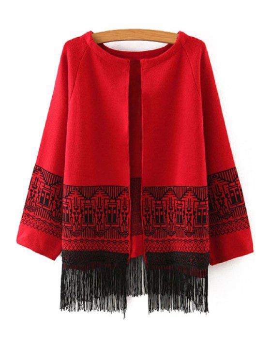 womens Ethnic Pattern Tassels Spliced Cardigan - RED ONE SIZE(FIT SIZE XS TO M)