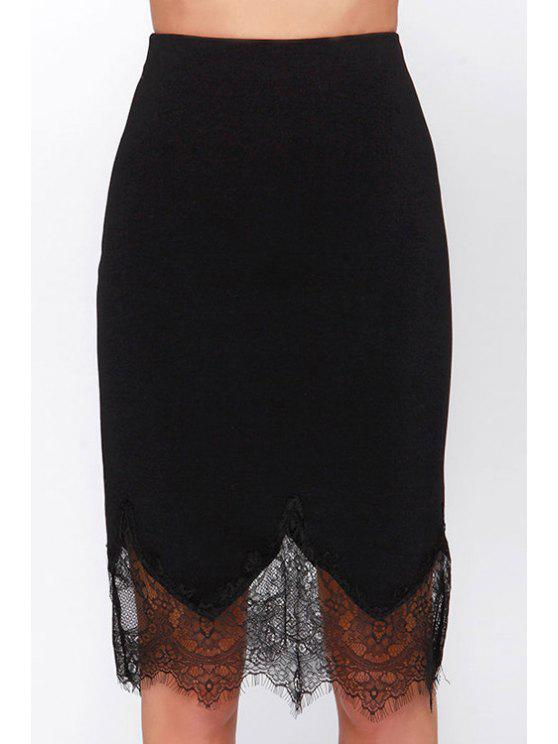 ladies Black Lace Spliced High Waisted Skirt - BLACK XS