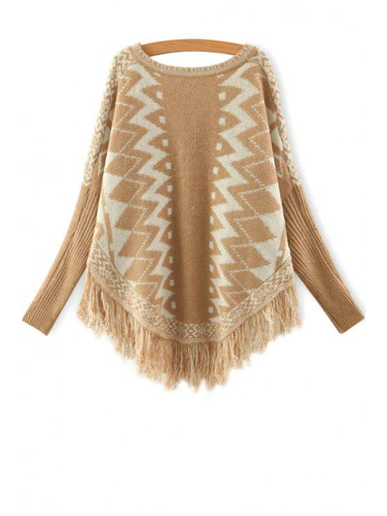 women's Batwing Sleeve Fringed Jumper - KHAKI ONE SIZE(FIT SIZE XS TO M)