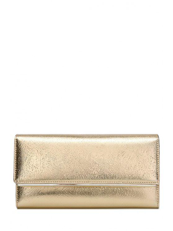 fancy Solid Color Stitching Metal Wallet - GOLDEN