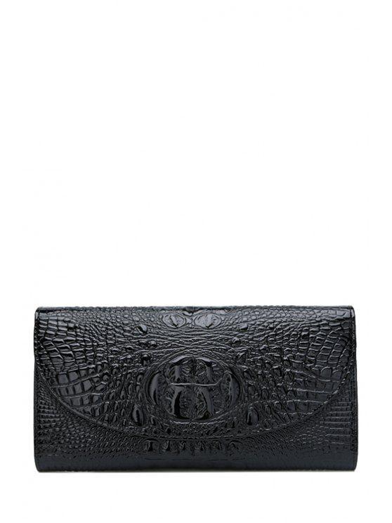 lady Solid Color Crocodile Print Hasp Clutch Bag - BLACK