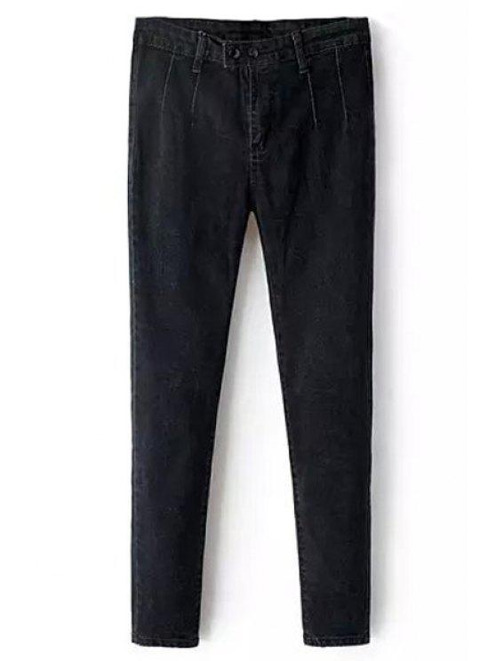 fashion Solid Color Pencil Jeans - BLACK S