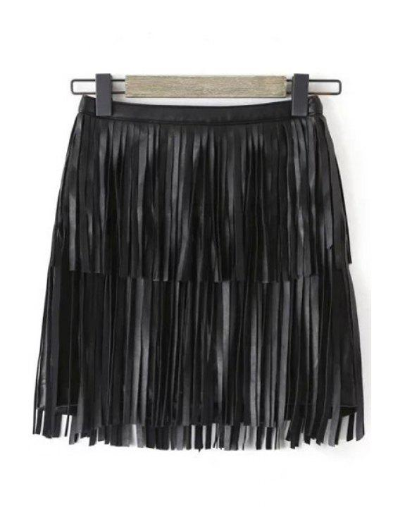 fashion Tassels Faux Leather Skirt - BLACK S