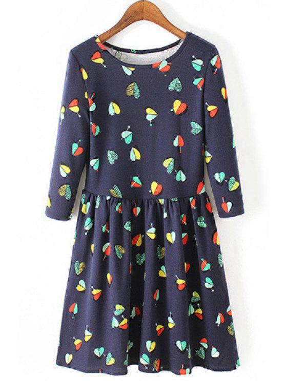 fancy 3/4 Sleeve Heart Print Dress - BLUE S