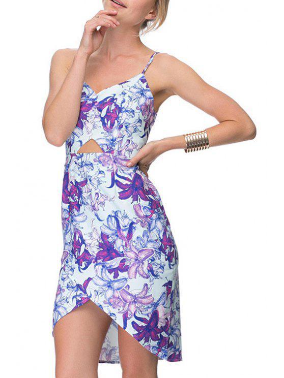 fancy Floral Print Cami Irregular Dress - BLUE XS