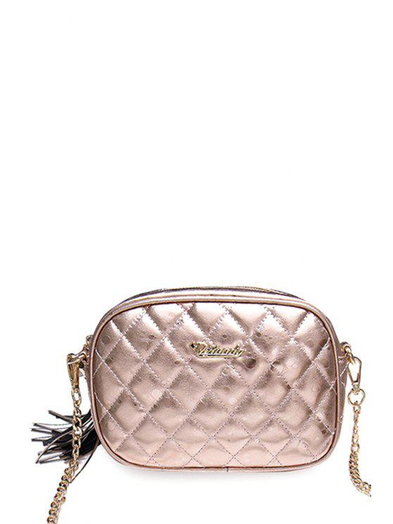 chic Tassel Chains Solid Color Crossbody Bag - GOLDEN