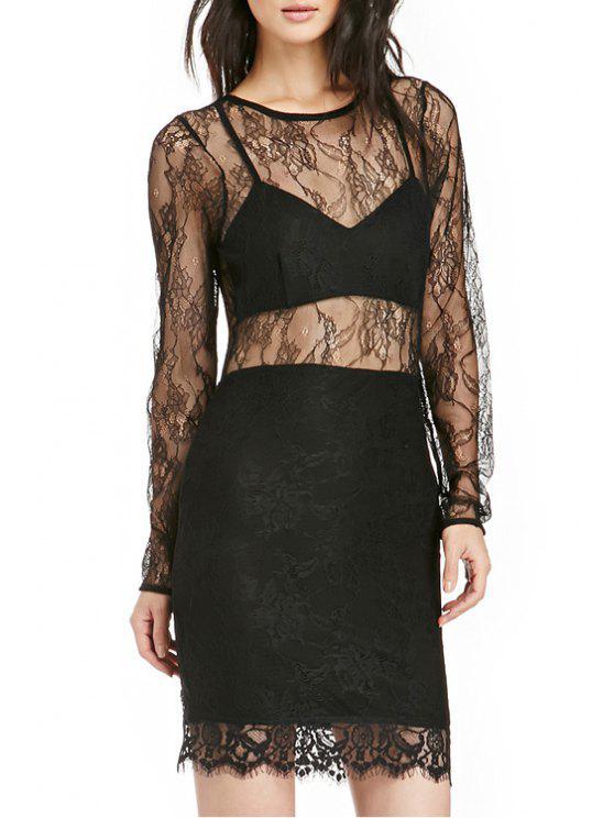 hot See-Through Long Sleeve Dress - BLACK XS