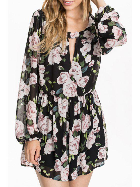 womens Floral Print Chiffon Long Sleeve Playsuit - BLACK XS