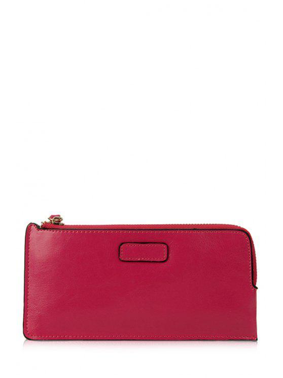 womens Candy Color Zipper Rivets Wallet - ROSE