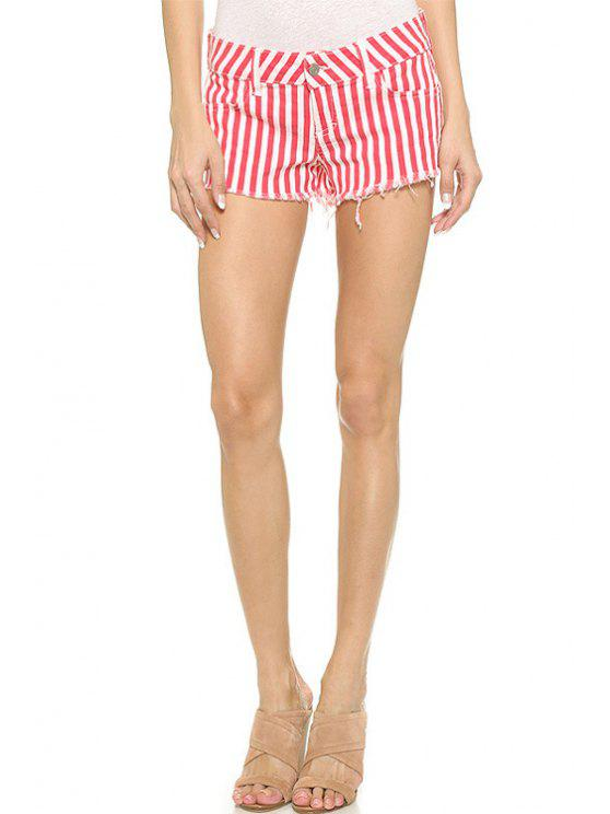 hot Red Striped Straight Leg Shorts - RED WITH WHITE 2XL