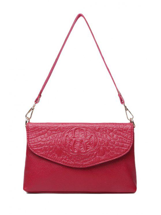 womens Crocodile Print Embossing Zipper Shoulder Bag - ROSE