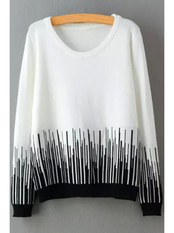 outfit Stripes Scoop Neck Long Sleeve Jumper - WHITE ONE SIZE(FIT SIZE XS TO M)