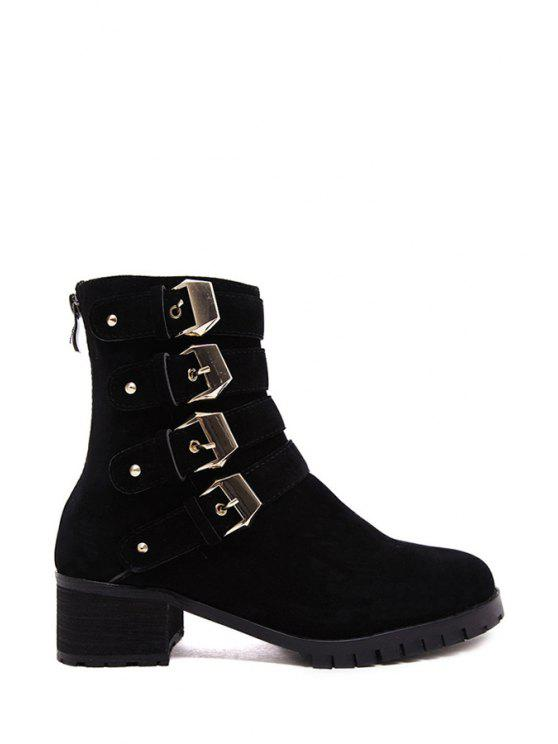 ce94aa8f94 33% OFF] 2019 Metallic Buckles Rivets Zipper Ankle Boots In BLACK ...