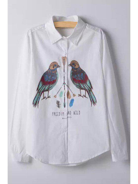 outfits Bird Print Shirt Neck Long Sleeve Shirt - WHITE S