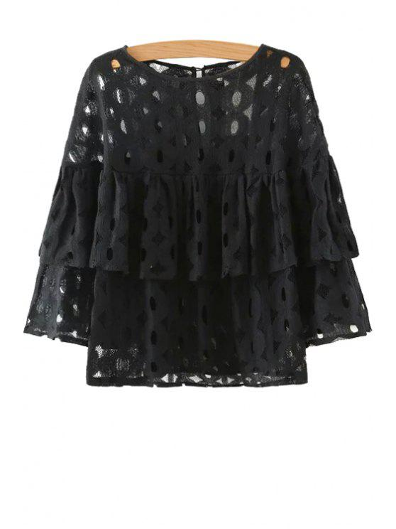 fashion Hollow Solid Color Long Sleeve Blouse - BLACK S