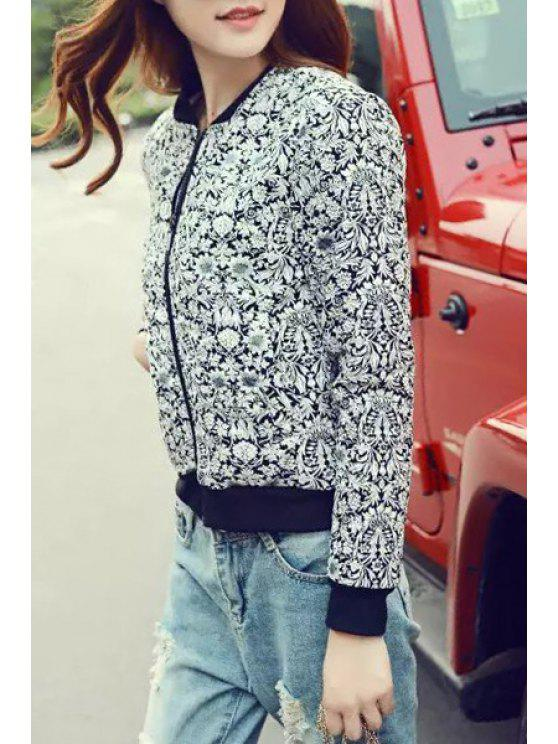 women's Stand Neck Floral Baseball Jacket - BLACK S