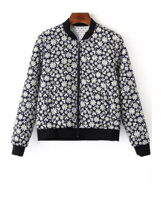 chic Tiny Floral Print Baseball Jacket - BLUE M