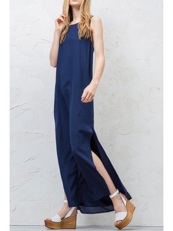 fashion Side Slit Sleeveless Solid Color Back Tie Dress - PURPLISH BLUE S