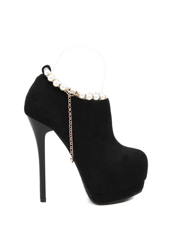 affordable Beading Suede Chains High Heel Boots - BLACK 34
