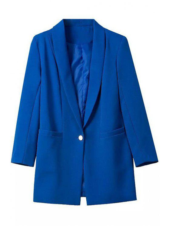 outfit Shawl Neck One Button Blazer - SAPPHIRE BLUE M