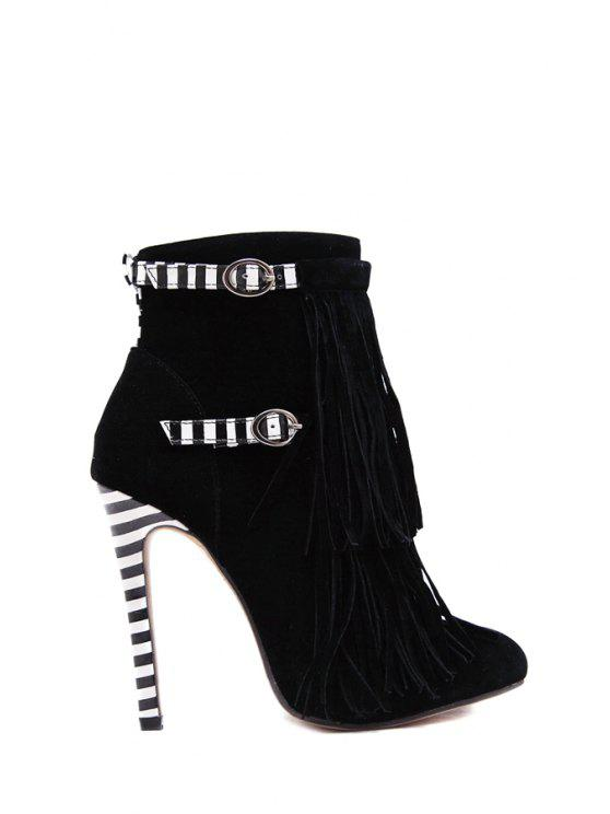 buy Fringe Suede Buckles High Heel Boots - BLACK 35