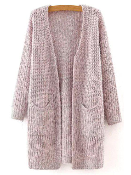 chic Solid Color Long Sleeve Long Cardigan - PINK M