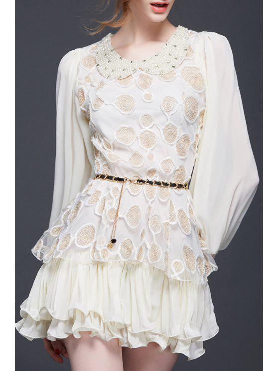 sale Embroidery Peter Pan Collar Long Sleeve Dress - APRICOT S